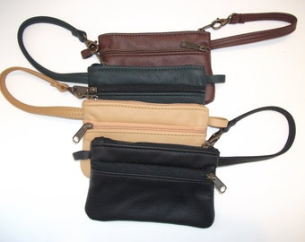 Leather Wristlet -our small size - black leather other colors available