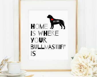 Home is where your Bullmastiff is, Printable dog quote art decor, Personalize with dog's name - Bullmastiff (Custom digital download - JPG)