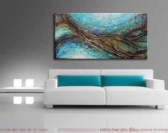 Original MADE TO ORDER Abstract Painting Textured 48x24 Canvas Ocean Sea Shore Water Acrylic Aqua Teal Brown Fine Art by Federico Farias