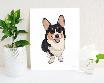 Corgi Art Print, Corgi Gift, Pembroke Welsh Corgi Art, Corgi Memorial, Corgi Print, Corgi Art, Gift for Dog Lover, Welsh Corgi Art Print