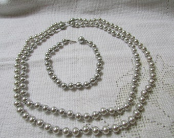 Vintage silver pearl necklaces and bracelet 3 piece set demi parure estate find wedding bridal prom