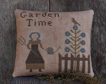 Garden Time...Primitive PAPER Cross Stitch Pattern By The Humble Stitcher