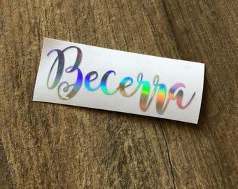 Name Rainbow Decal Sticker / Foil Name Decal / Chrome Name / Custom Name / Name Sticker / Personalized Decal / Yeti Decal / Rainbow Name