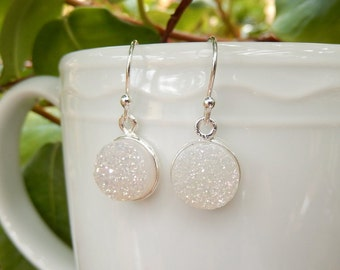 White Druzy Earrings Sterling Silver Drusy Snow Quartz Round Circle Titanium Aura Dainty Drops - Free Shipping Jewelry