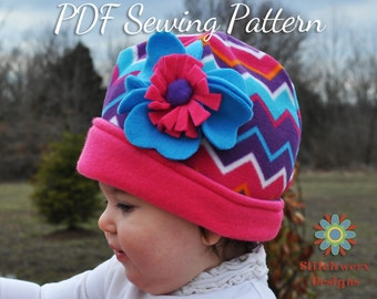 Fleece Hat, Sewing Pattern, PDF Pattern, Baby Hat Pattern, Girls Hat Pattern, Boys Hat Pattern, Winter Hat, Knit Hat Sewing, Hat Sewing PDF