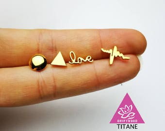 pure earrings titanium steel gold-plated round triangle love geometric eletrocardiography hypoallergenic sensitive skin