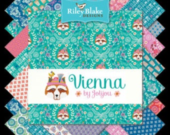 """Vienna Charm Pack Stacker by Riley Blake Fabrics, 42 Pieces, 5"""" squares, Bin D"""