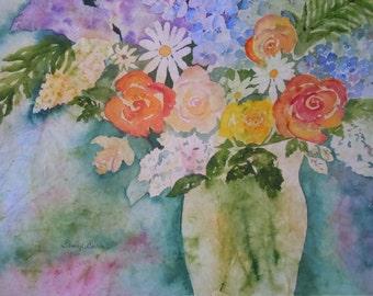 Batik Bouquet Watercolor Notecard