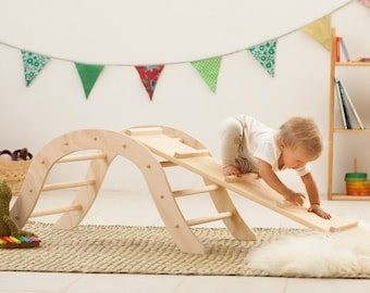 Reversible ramp for Pikler's Triangle or Climbing Arch / Wood Slide / Reversible board / Wood board children