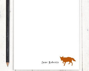 personalized notePAD - FOX - stationary - animal stationery - men's stationery - boy's notepad - custom notepad