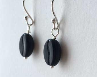 Black Coffee Bean Sterling Silver Earrings.  Gift for Teacher. Coffee lover