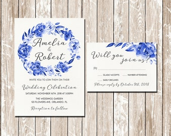 Snorkel Blue Navy Blue floral wreath Printable Wedding Invitation Suite Caligraphy modern Font DIY Wedding Invitation Set digital files