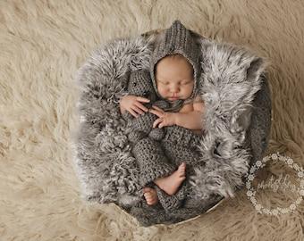 Newborn Teddy Bear and Bonnet Set