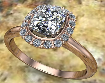 Cushion Cut Diamond Halo and 18K Rose Gold and Platinum Engagement Ring