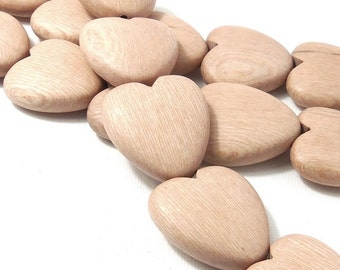 Unfinished Rosewood Heart Bead, Tan, Light Pink, No Wax, Focal Pendant, Natural Wood Bead, Hand Carved, 25mm, Set of 2 Beads - ID 2158-SET2