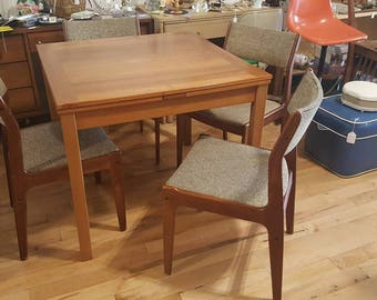Ansager Mobler Danish Modern Teak Expanding Dining Table With Four Chairs
