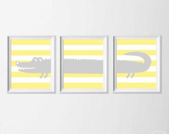Alligator Nursery Art, Safari Alligator Nursery Wall Art, Yellow Grey Alligator Set of 3, Safari Kids Decor Alligator, Zoo Nursery Art