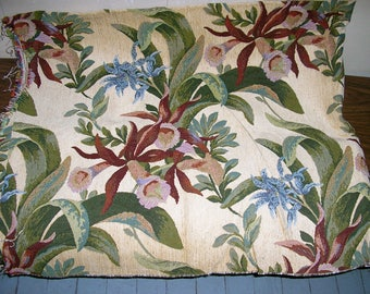 Vintage tapestry fabric remnant almost 2 yards