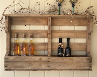 Rustic shelf, wine rack, recycled wood, ecofriendly rustic furniture
