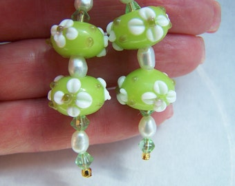 Green White Lampwork Glass Dangle Earrings Doodaba
