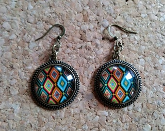 Earrings multicolored graphic pattern new and handmade!
