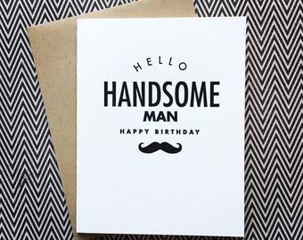 Happy Birthday Handsome Letterpress Card