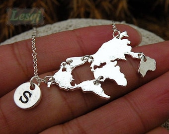 World map necklace etsy silver world map puzzle necklace with stainless steel chains letter charm necklacemap gumiabroncs Gallery