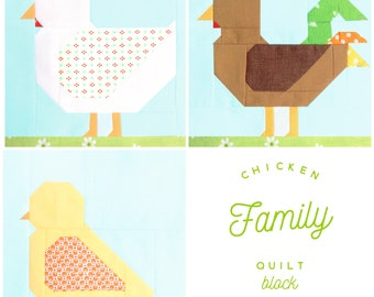 Set of 3 Chicken Family Quilt Block Patterns - Chicken Hen, Rooster, Chicken Chick Instructions for 6 & 12 inch blocks 15% Savings
