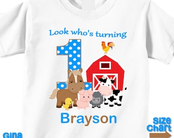 Personalized Barnyard Farm Animals Girl Pink Boy Blue Party Shirt T-shirt Bodysuit 1st 2nd 3rd 4th 5th Shirt in White, Grey, Blue, Pink