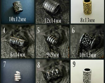 Hair Beads Viking hair beads Celtic hair bead steampunk cosplay goth Elvish boho hair jewelry Norse Hobbit TIBETAN ALLOY SELECTION