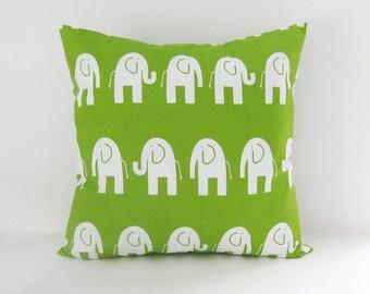 Elephant Pillow Cover Nursery Pillow Green Pillow Decorative Pillow Cover Size Choice