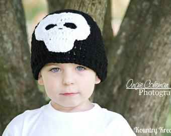 The SKULL Baby Hat/Crochet Skull Hat, Newborn Skull Hat, Baby Boy Hat, Toddler Hat (Ready to Ship)