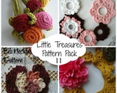 CROCHET PATTERN Discount Pack #11 - 4 PDF Patterns,crochet bracelet necklace, crochet flower, crochet roses,button, bib, collar