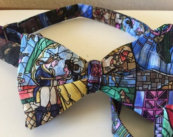 Fairy Tale Bow Ties: Happily Ever After, Beauty and the Beast, Love story and fairy tale wedding beautifully portrayed in stained glass.