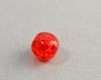 Red Glass Bead, Vintage Cracked Glass, Oval Bead, 8mm Red Bead, One