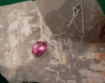 "16x12mm Pink Topaz & Sterling Silver 18"" Necklace"