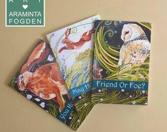 Oringinal art, hare or owl notebook