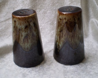 Vintage Pottery Drip Glazed Salt and Pepper Shakers -1950s