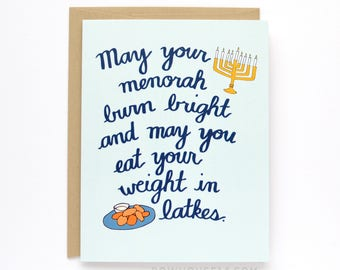 Funny Hanukkah Card - Menorah and Latkes Card