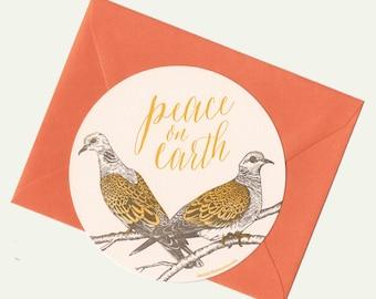 letterpress turtle doves peace circle card