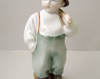 Large,Vintage,Hungarian, ZSOLNAY porcelain child,boy ,hand painted stamped