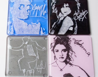 80s Musicians Madonna George Michael Siouxsie Sioux Michael Jackson Fused Glass Coaster 4-pack Alternative Rock, New Wave