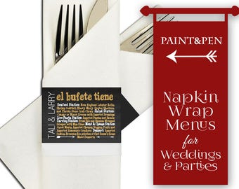 Elegant Wrap Around Menu Napkin Holders- Wedding Menu Cards- Napkin Menu Wrap- Menu Cards- Classical Rustic Elegance- Bohemian Wedding Idea