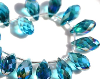 Gorgeous Teal Peacock Blue Faceted Crystal Teardrop Beads    6