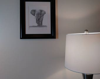 Elephant Pencil Drawing Artwork Print