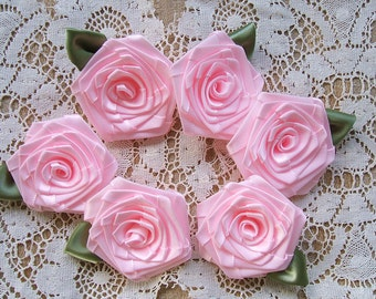 Victorian Ribbon Roses 6 LG Baby Pink 2in. Jewelry-Quilters-Designers-Wedding