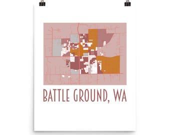 Map art Battle Ground WA, local, city, town, village, Photo paper poster