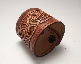 Hand tooled leather bracelet / cuff