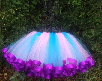 Pink & Blue Satin trimmed tutu, created by Maggie