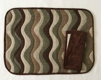 Quilted Placemats in Camouflage Colors, Sets of 2